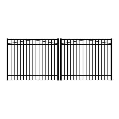 Jefferson 12 ft. W x 5 ft. H Black Aluminum 3-Rail Double Drive Fence Gate