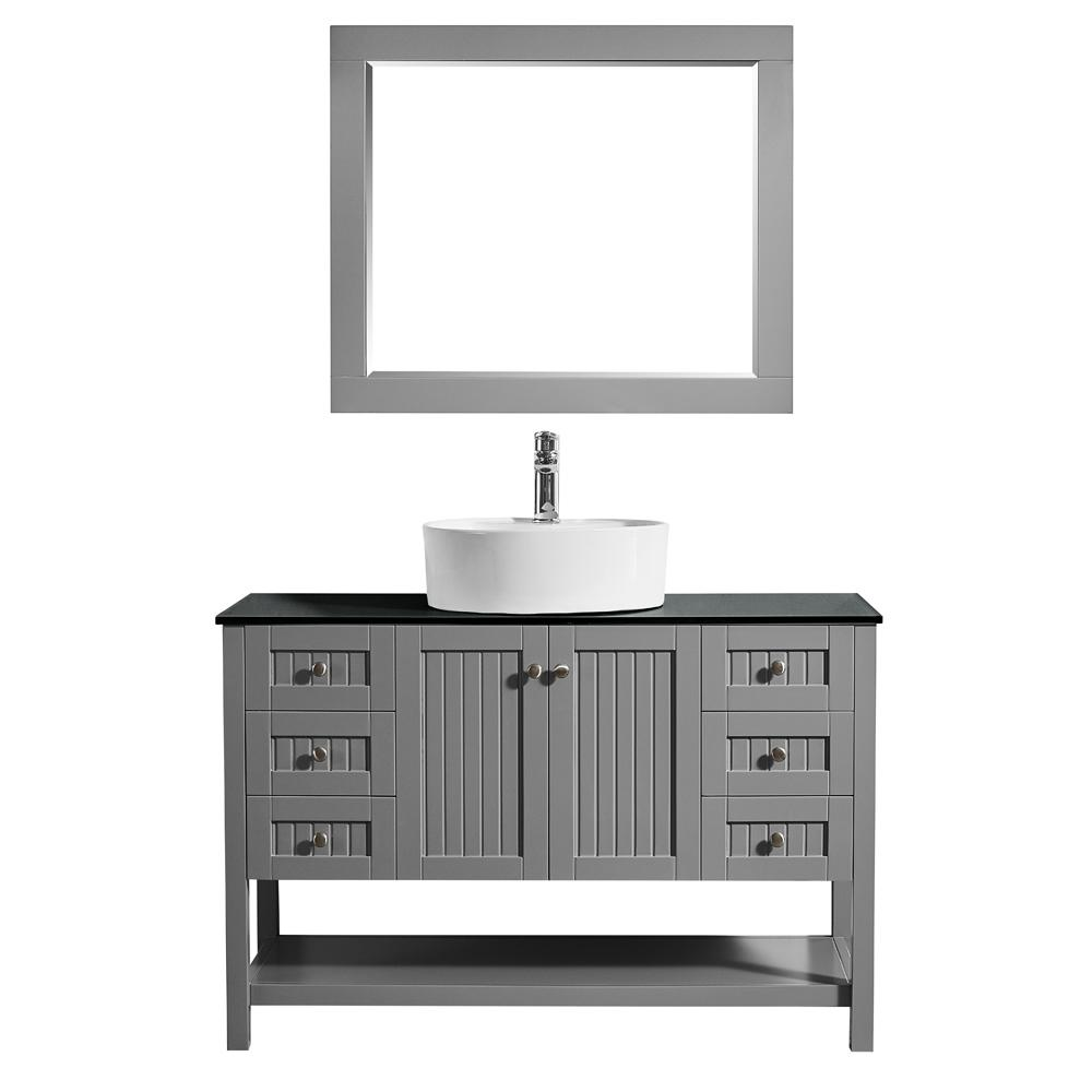 ROSWELL Modena 48 in. W x 18 in. D Vanity in Grey with Glass Vanity Top in Black with White Basin and Mirror