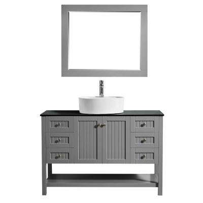 Modena 48 in. W x 18 in. D Vanity in Grey with Glass Vanity Top in Black with White Basin and Mirror
