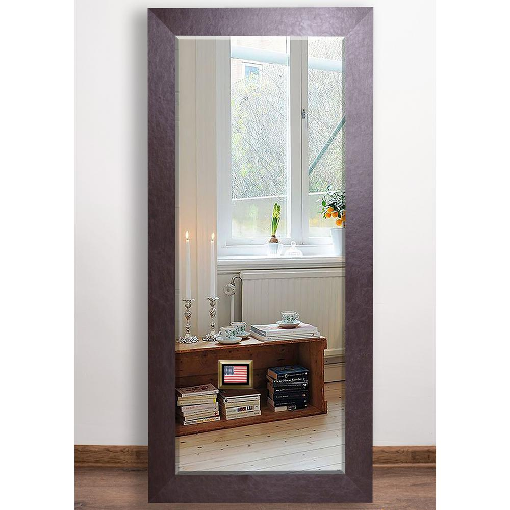 Wide Brown Beveled Full Mirror