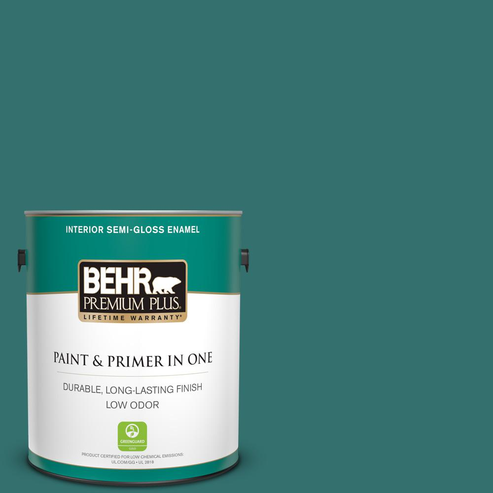 Behr Premium Plus 1 Gal 500d 7 Caribbean Green Semi Gloss Enamel Low Odor Interior Paint And Primer In One 330001 The Home Depot
