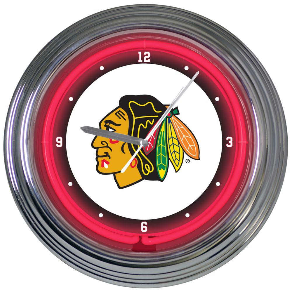 The Memory Company 15 in. NHL License Chicago Blackhawks Neon Wall Clock-DISCONTINUED