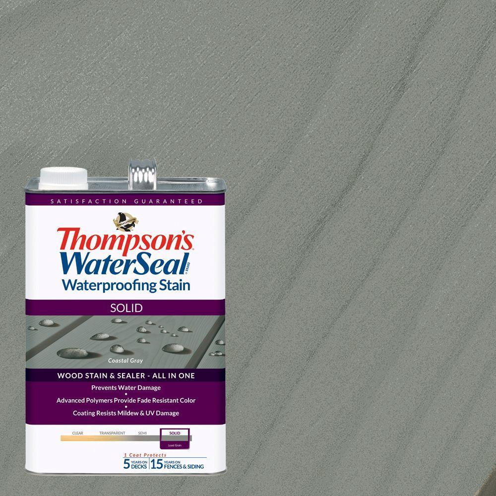 1 gal. Solid Coastal Gray Waterproofing Stain Exterior Wood (4-Pack)