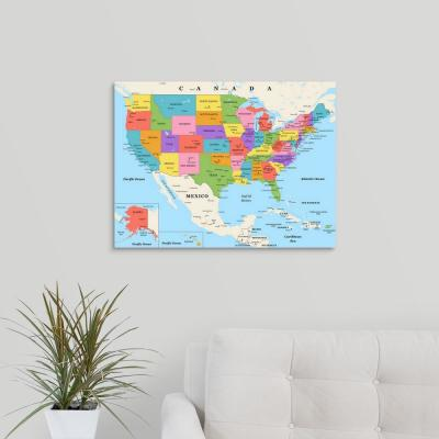 """""""US Map - Color, Classic Text"""" by Inner Circle Canvas Wall Art"""