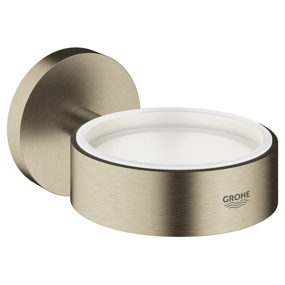 GROHE Essentials Glass Wall-Mounted Soap Dispenser Holder in Brushed Nickel InfinityFinish
