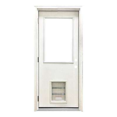 30 in. x 80 in. Classic Half Lite RHOS White Primed Textured Fiberglass Prehung Front Door with XL Pet Door