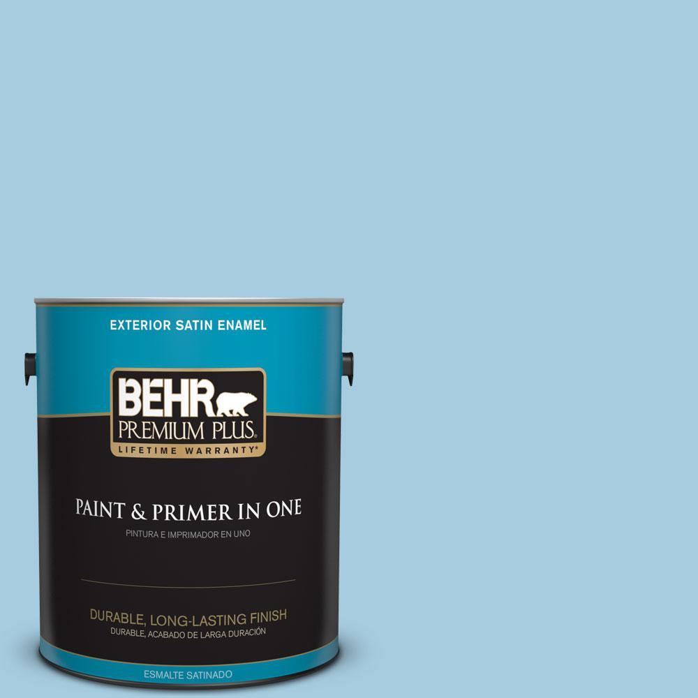 1-gal. #M490-2 Carefree Sky Satin Enamel Exterior Paint