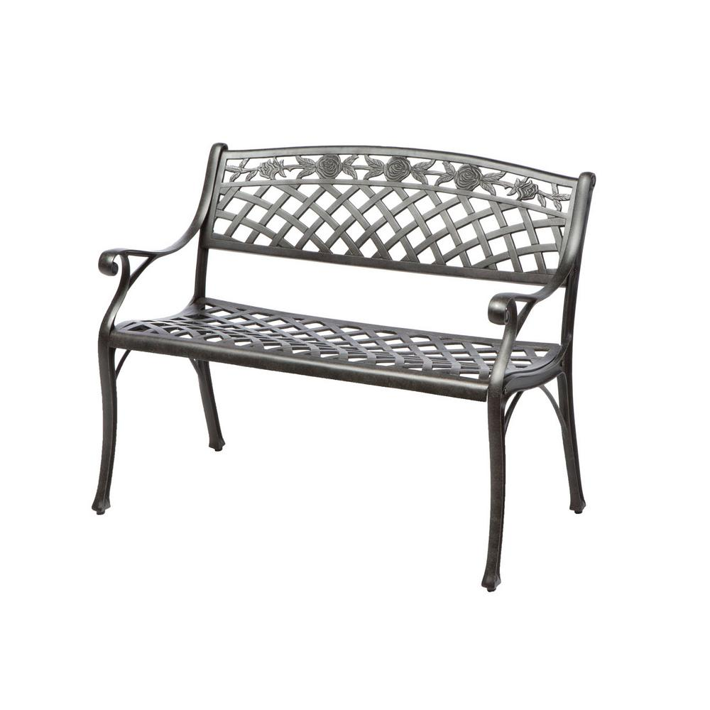 Alfresco Cinco Rosas Cast Aluminum Outdoor Bench with Ant...