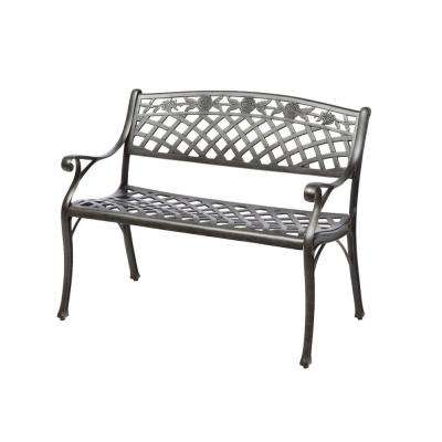 Cinco Rosas Cast Aluminum Outdoor Bench with Antique Fern Finish