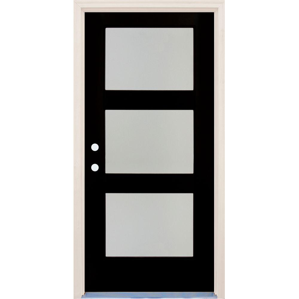 Builders Choice 36 in x 80 in Elite Inkwell RH 3 Lite Satin Etch Glass Contemporary Painted Fiberglass Prehung Front Door w/ Brickmould