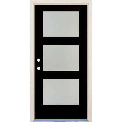 36 in x 80 in Elite Inkwell RH 3 Lite Satin Etch Glass Contemporary Painted Fiberglass Prehung Front Door w/ Brickmould