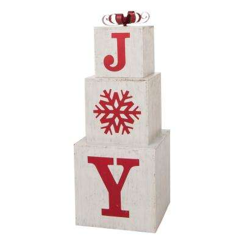 31.89 in. H Wooden Block Wording Porch Sign - JOY