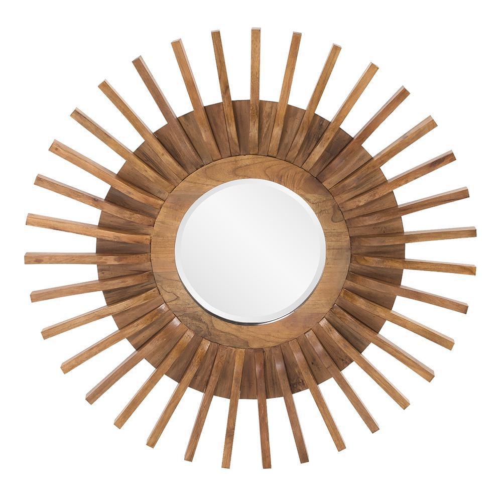 Carver Wooden Round Decorative Mirror