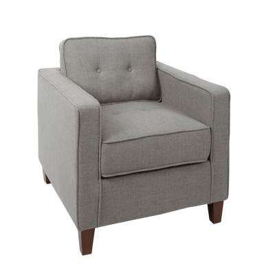 Schuler Light Grey Square Arm Tufted Upholstered Club Chair