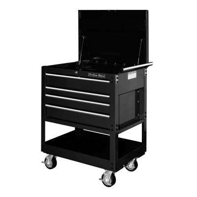 32 in. 4-Drawer Deluxe Utility Cart in Black