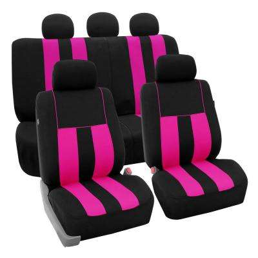 Modern Stripe Fabric 21 in. x 20 in. x 2 in. Full Set Seat Covers