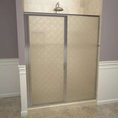 1100 Series 47 in. W x 68-5/8 in. H Framed Swing Shower Door in Polished Chrome with Pull Handle and Obscure Glass