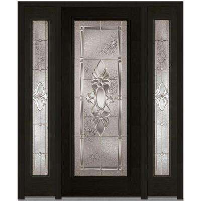60 in. x 80 in. Heirloom Master Left-Hand Full Lite Decorative Stained Fiberglass Oak Prehung Front Door with Sidelites
