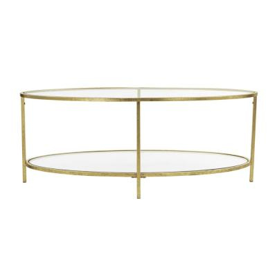 Bella Oval Gold Leaf Metal and Glass Coffee Table (46 in. W x 18 in. H)