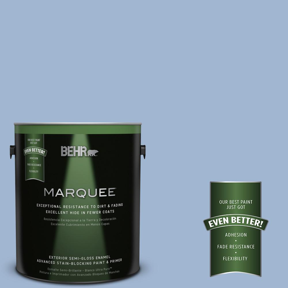 BEHR MARQUEE 1-gal. #PPU14-10 Blue Suede Semi-Gloss Enamel Exterior Paint