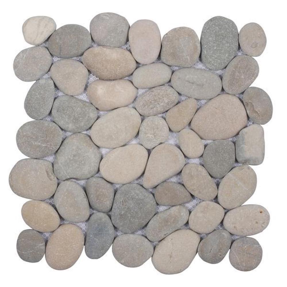 Cruz Bay Classic Pebble Tile Light Grey 11-1/2 in. x 11-1/2 in. x 12.7mm Mesh-Mounted Mosaic Tile (10.12 sq. ft. / case)