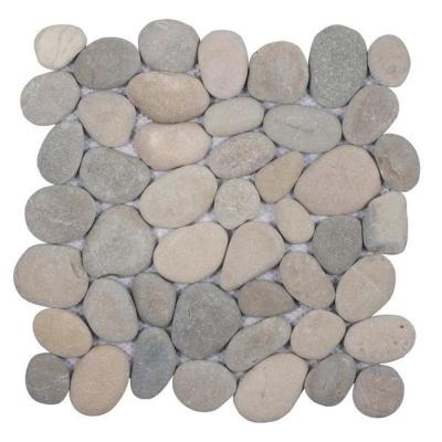 Classic Pebble Tile Light Grey 11-1/2 in. x 11-1/2 in. x 12.7mm Mesh-Mounted Mosaic Tile (10.12 sq. ft. / case)