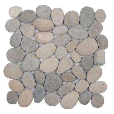 Classic Light Grey 11.5 in. x 11.5 in. x 12.7 mm Indonesian Pebble Mesh-Mounted Mosaic Tile (10.098 sq. ft. / case)