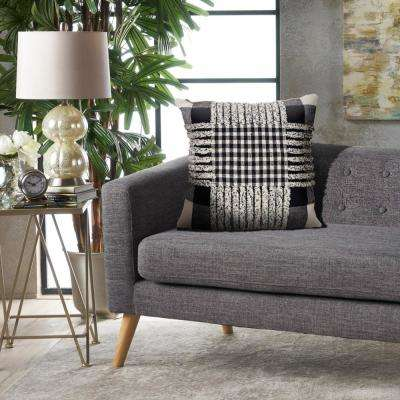 Eclectic Pinstripe Black Natural 18 in. x 18 in. Square Throw Standard Pillow