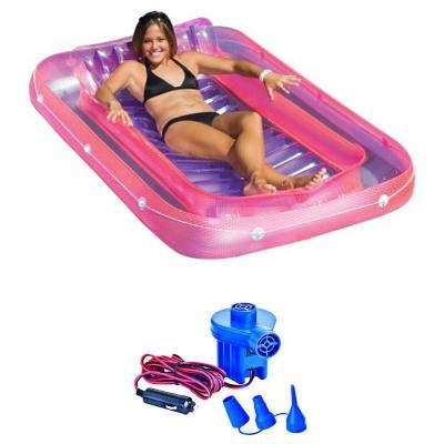 71 in. Swimming Pool Inflatable Tub Lounger with 12-Volt Air Pump