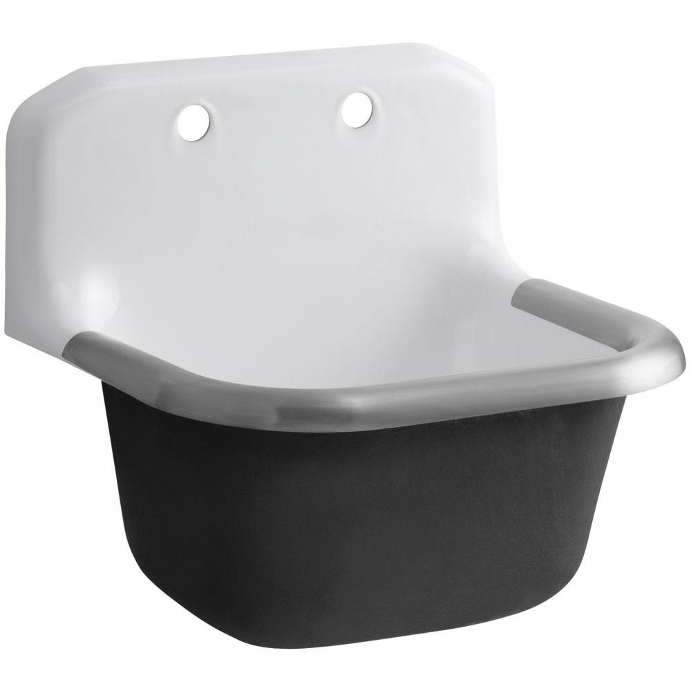 KOHLER Bannon Wall Mount 24 in. Cast Iron Service, Utility, Laundry Sink in White