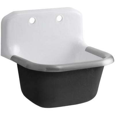 Bannon 24 in. x 20-1/4 in. x 13 in. Cast-Iron Service Sink in White