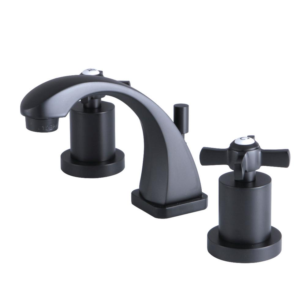 Millennium 8 in  Widespread 2 Handle Bathroom Faucet in Matte Black. Kingston Brass Millennium 8 in  Widespread 2 Handle Bathroom Faucet