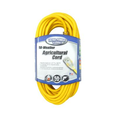 50 ft. 14/3 SJEOW Agricultural Grade Outdoor Medium-Duty Extension Cord with Power Light Plug