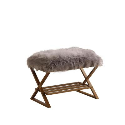 17 in. Billie Gray Faux Fur Matte Gold Vanity Bench