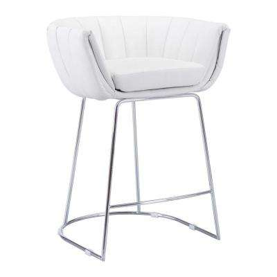 Latte 25.6 in. White Cushioned Bar Stool