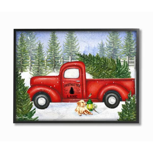 Red Christmas Truck.11 In X 14 In Holiday Christmas Tree Lane Red Pickup Truck With Dog And Lantern By Artist Sheri Hart Framed Wall Art