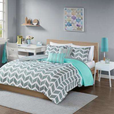 Laila 5-Piece Teal Full/Queen Geometric Coverlet Set