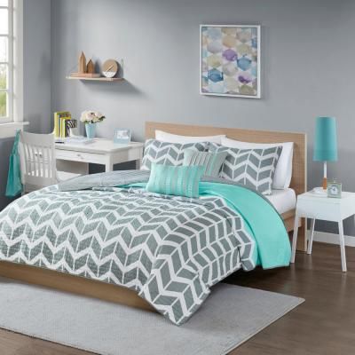 Intelligent Design Laila 4 Piece Teal, Grey And Teal Bedding