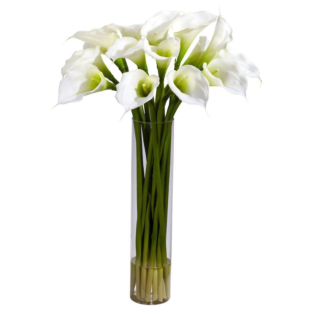 NEARLY NATURAL 27 in. H Cream Calla Lilly with Cylinder Silk Flower Arrangement NEARLY NATURAL 27 in. H Cream Calla Lilly with Cylinder Silk Flower Arrangement