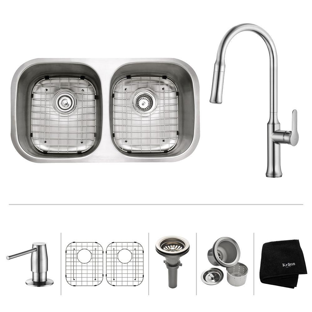 Kraus All In One Undermount Stainless Steel 32 In 5050 Double Bowl