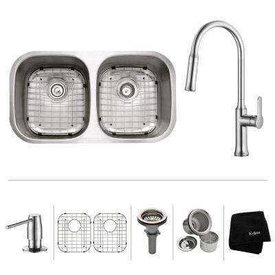 All-in-One Undermount Stainless Steel 32 in. 50/50 Double Bowl Kitchen Sink with Faucet and Accessories in Chrome