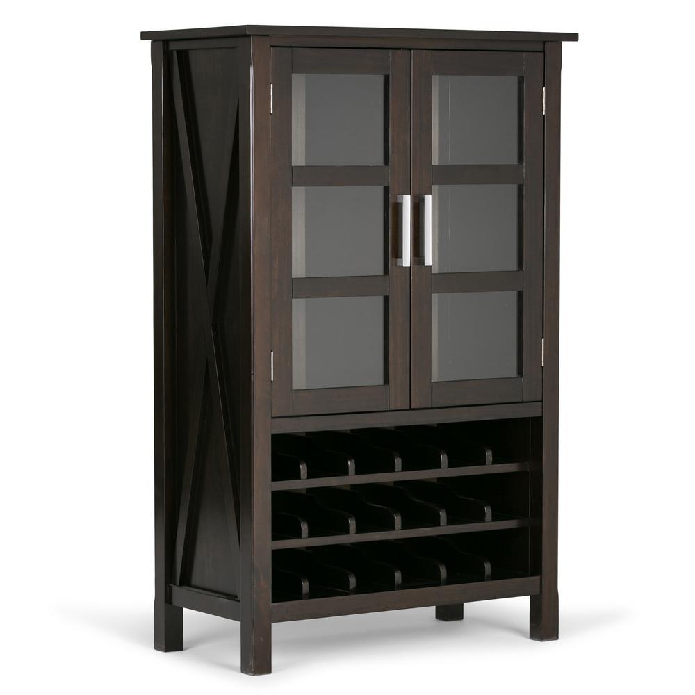Kitchener 18-Bottle Solid Wood 32 in. Wide Contemporary High Storage Wine Rack Cabinet in Dark Walnut Brown