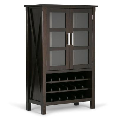 Kitchener 18-Bottle Solid Wood 32 in. Wide Hickory Brown Contemporary High Storage Wine Rack Cabinet