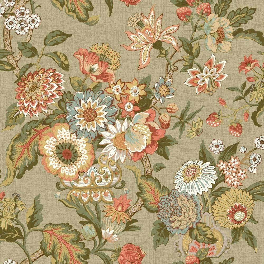 York Wallcoverings Global Chic Graceful Garden Wallpaper GC8704