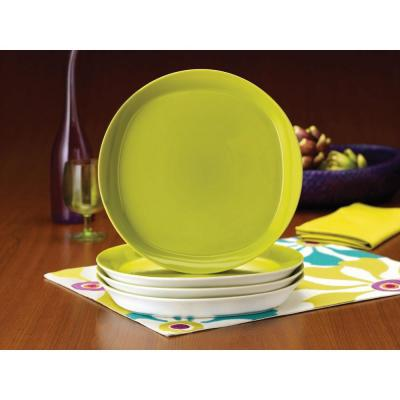 Round and Square 4-Piece Dinner Plate Set in Green Apple