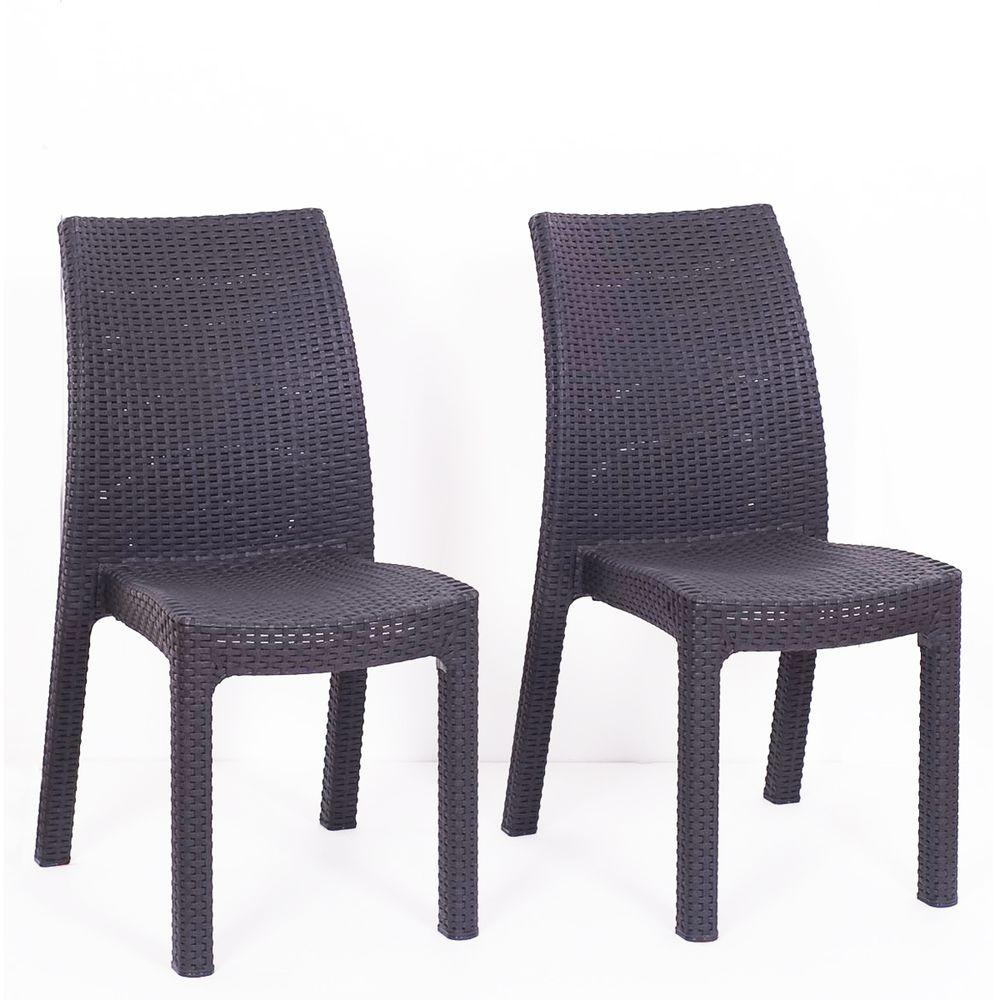 Atlantic Corfu Grey Stacking Patio Dining Chair (4-Pack)-DISCONTINUED