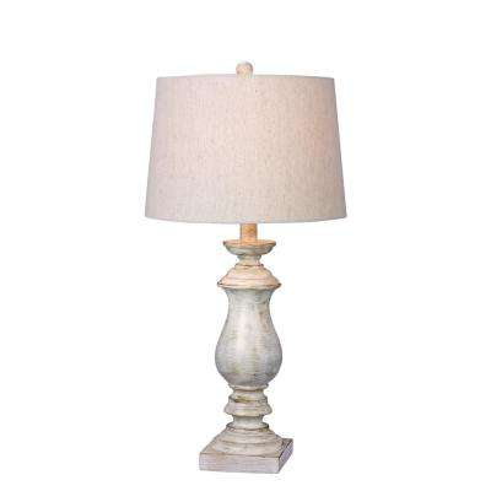 29.5 in. White Resin Table Lamp