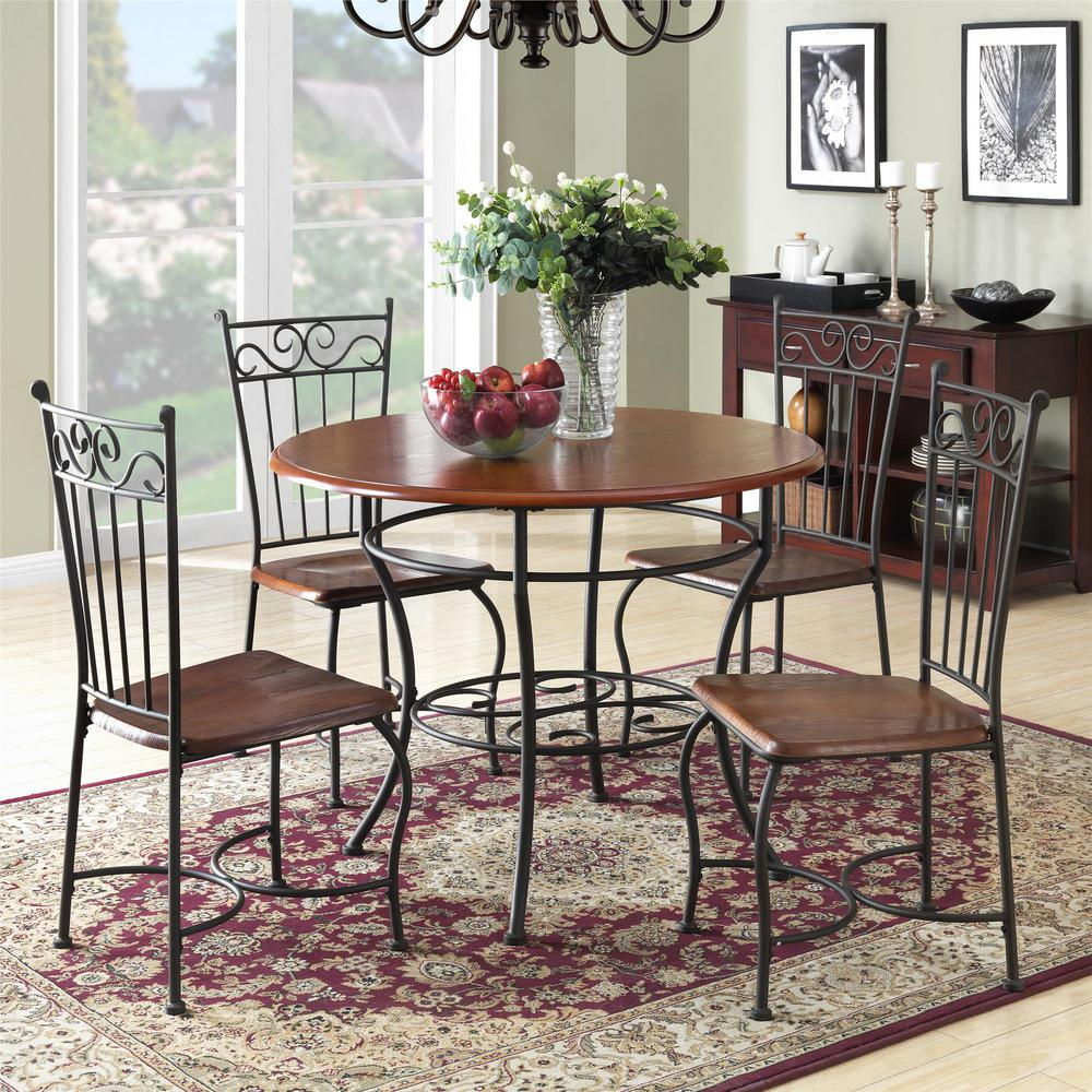 Dorel Asha 5-Piece Walnut / Black Wood And Metal Dinette