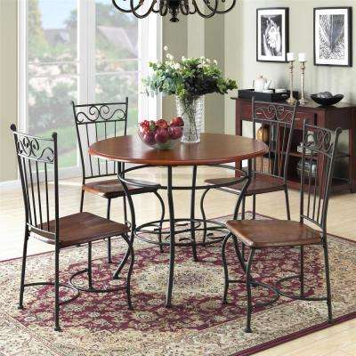 Asha 5 Piece Walnut / Black Wood And Metal Dinette Set