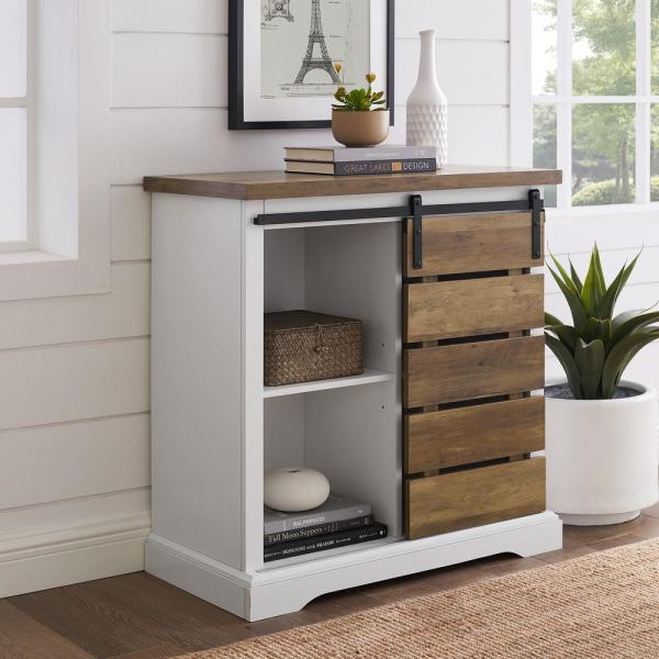 Solid White Rustic Oak Farmhouse Sliding Slat Door Accent Console By Walker Edison Furniture Company